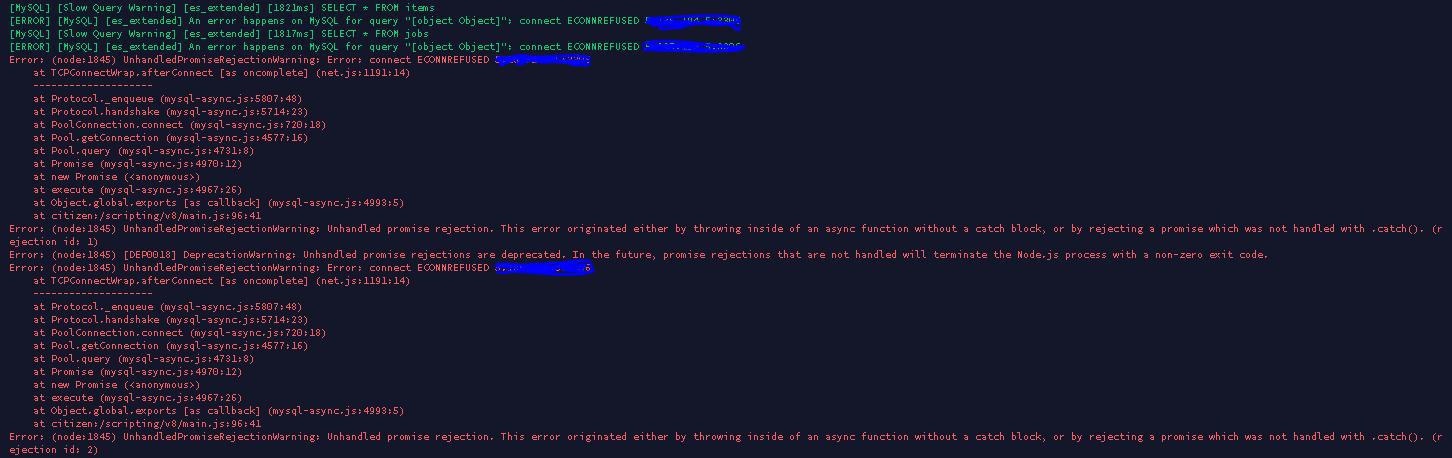 Problème myslq lors du lancement du serveur - Résolu - Fivem